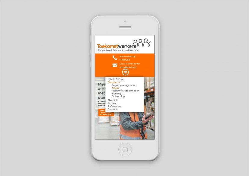 Toekomstwerkers website mobile versie