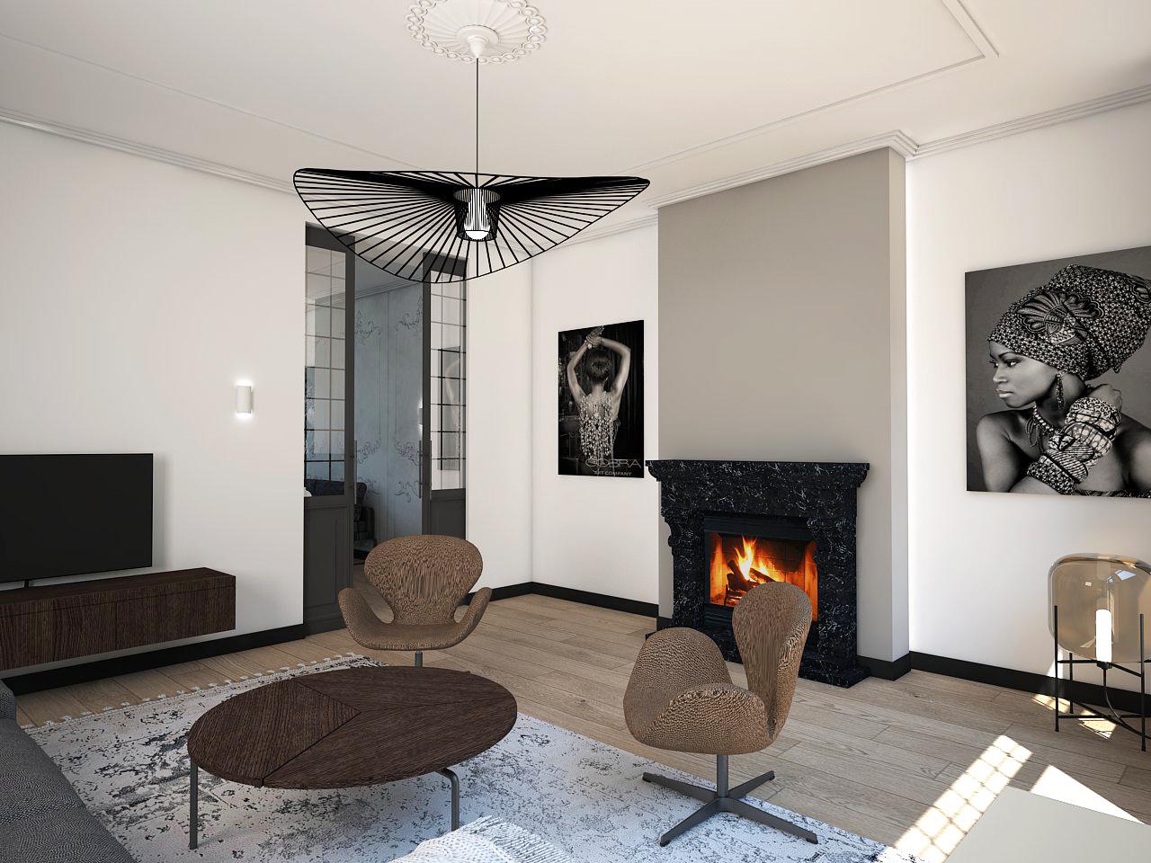 Modern klassiek interieur openhaard verlichting studio em