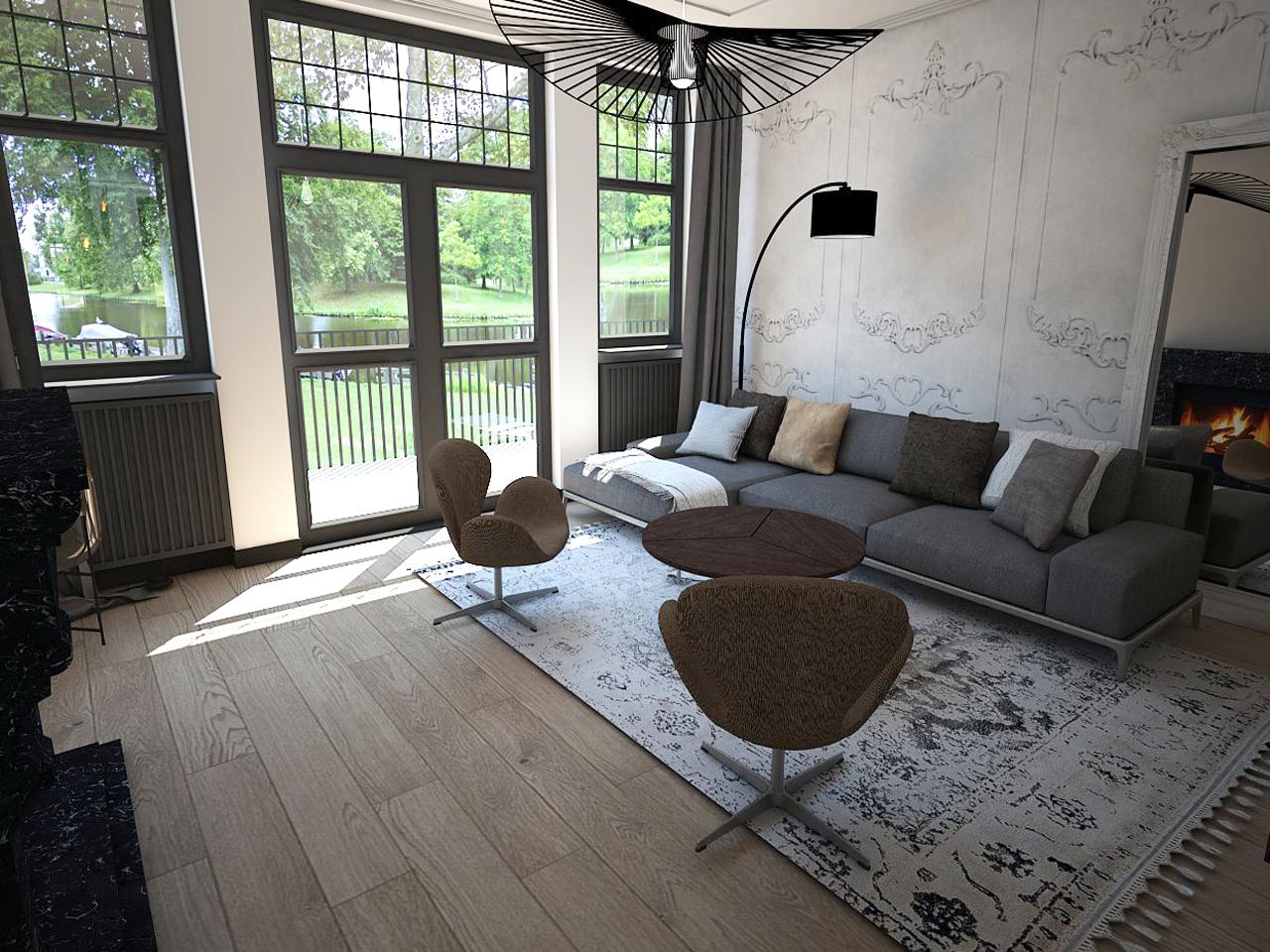 Modern klassiek interieur richting het raam - Studio em